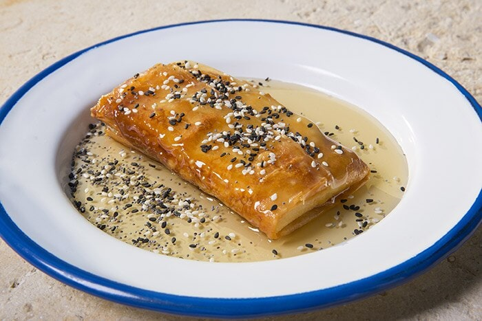 Dudka Thai - filo pastry with non-dairy feta and honey